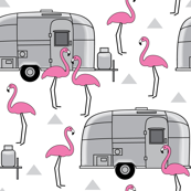 vintage silver trailers-and-flamingo-on-white