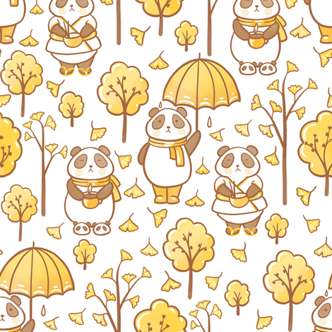 pandas and ginkgo  fabric by elena_naylor on Spoonflower - custom fabric