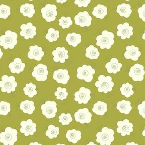 Fluffy Flowers-Cream on Green