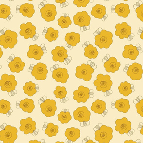 Fluffy Flowers – Mustard on Yellow