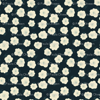 Fluffy Flowers – Cream on Navy
