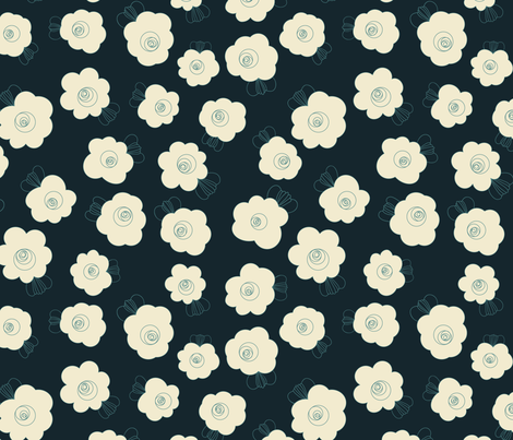 Fluffy Flowers – Cream on Navy fabric by paula_ohreen_designs on Spoonflower - custom fabric
