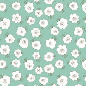 Fluffy Flowers – White on Blue