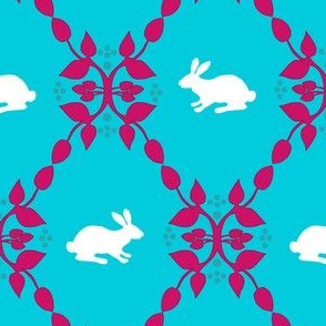 Modern Whimsy Bunnies Blue Pink