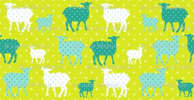 Modern Whimsy Lambs Citron Blue