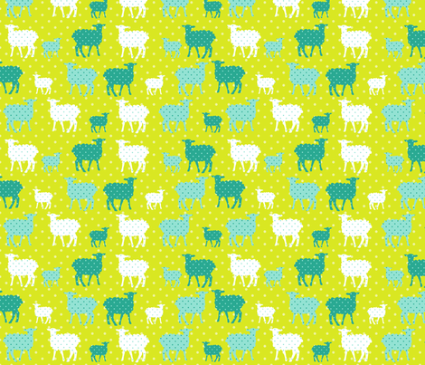 Modern Whimsy Lambs Citron Blue fabric by lauriewisbrun on Spoonflower - custom fabric