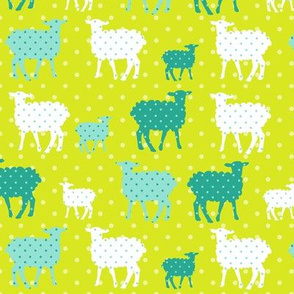 Modern Whimsy Lambs Citron Blue