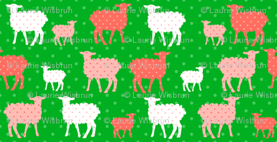 Modern Whimsy Lambs Green Pink