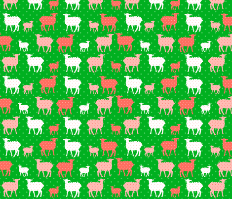 Modern Whimsy Lambs Green Pink fabric by lauriewisbrun on Spoonflower - custom fabric