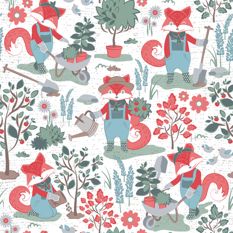 The foxy gardener // white background red foxes fabric by selmacardoso on Spoonflower - custom fabric
