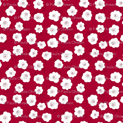 Fluffy Flowers – White on Red