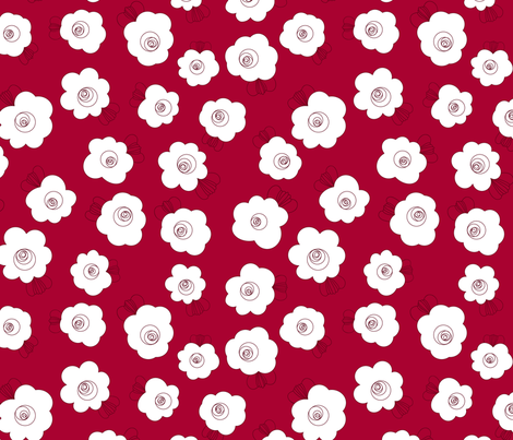 Fluffy Flowers – White on Red fabric by paula_ohreen_designs on Spoonflower - custom fabric