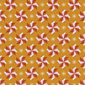 Pinwheels* (Gold Seal) || spring windmill geometric wind star stars starburst triangles mustard