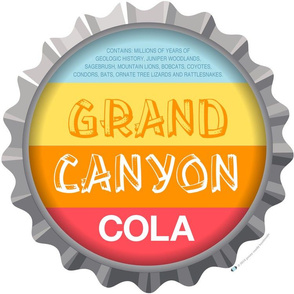 Soda Nation Pillow Panel (Grand Canyon National Park) || United States America parks typography bottle cap bottlecap pop travel summer vacation road trip home decor Arizona