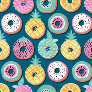 Undercover donuts // turquoise background pastel colors fruit donuts