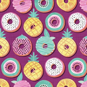 Undercover donuts // pink purple background pastel colors fruit donuts
