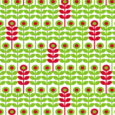 Brr Flowers Green Red fabric by lauriewisbrun on Spoonflower - custom fabric