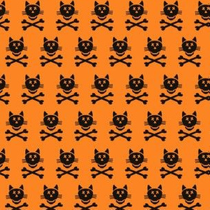 Halloween Cat Skull Cross Bones Simple