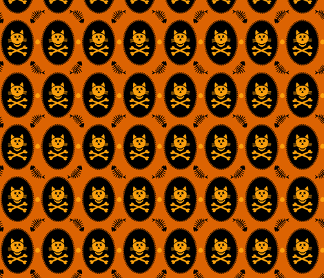 Halloween Cat Skeleton Large fabric by lauriewisbrun on Spoonflower - custom fabric