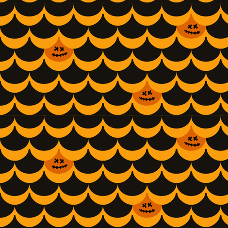 Halloween Pumpkin Clamshell fabric by lauriewisbrun on Spoonflower - custom fabric