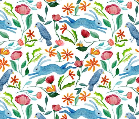 Natures Gardeners. A wildlife habitat: bees, butterflies, birds, rabbits fabric by vo_aka_virginiao on Spoonflower - custom fabric