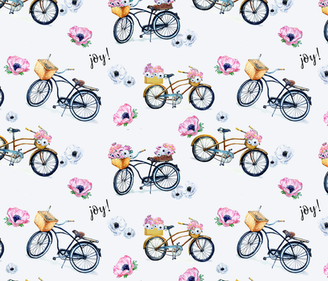Joy of Vintage Bikes and Flowers fabric by karaskye on Spoonflower - custom fabric