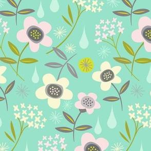 rain garden mint, pink, white / a large scale print