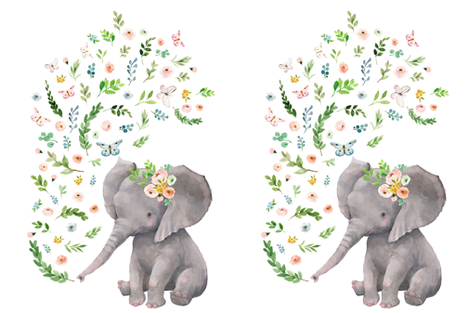 "27""x36"" FLORAL BABY ELEPHANT fabric by shopcabin on Spoonflower - custom fabric"