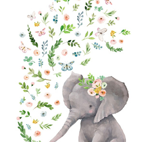 "27""x36"" FLORAL BABY ELEPHANT"