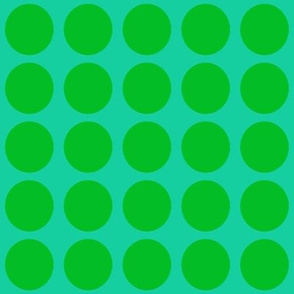 Green Dots on Greenish Blue Medium - Spring Dots