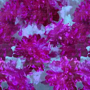 magenta peonies with aqua floral