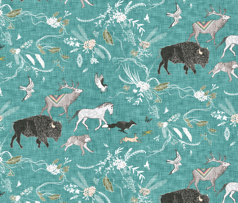 Stampede (large) TEAL  fabric by nouveau_bohemian on Spoonflower - custom fabric