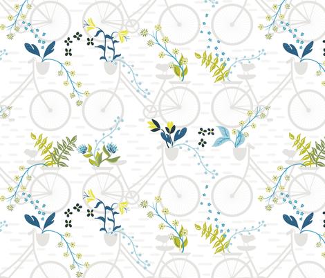 Birds in the bike lane fabric by karenlizzie on Spoonflower - custom fabric