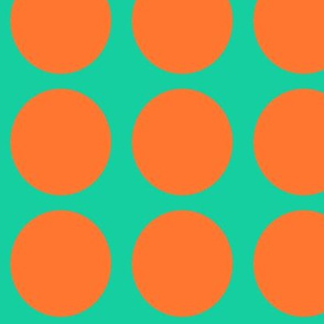 Orange Dots on Greenish Blue Large - Spring Dots