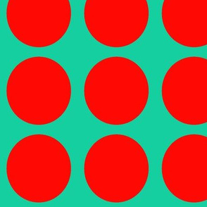 Red  Dots on Greenish Blue Large - Spring Dots