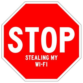 15 red white road signs traffic signs Graffiti vandalism vandalize pop art jokes gags novelty funny stop stealing my wi-fi wifi bandwidth slow internet connection pop culture 1st first world problems annoying irritating