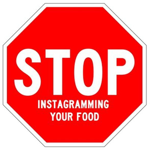 11 red white road signs traffic signs Graffiti vandalism vandalize pop art jokes gags novelty funny stop instagramming your food porn foodporn facebook memes internet social media pop culture 1st first world problems annoying irritating photographs postin