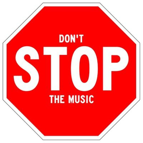 20 red white road signs traffic signs Graffiti vandalism vandalize pop art don't stop the music inspirational messages