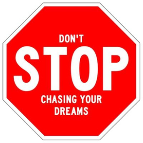 19 red white road signs traffic signs Graffiti vandalism vandalize pop art don't stop chasing your dreams inspirational messages