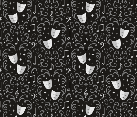 Theater Damask (Silver Screen) fabric by robyriker on Spoonflower - custom fabric