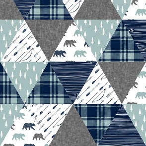 Woodland bear wholecloth || bear (grey) navy woodgrain C18BS