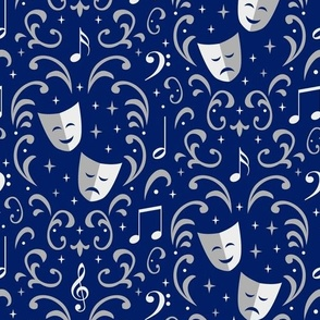 Theater Damask (Blue and Silver)