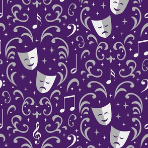 Theater Damask (Purple and Silver)