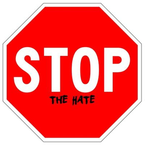 14 red white road signs traffic signs Graffiti vandalism vandalize pop art stop the hate wars fighting fights strong message peace pop culture end stop discrimination prejudice marker pen effect