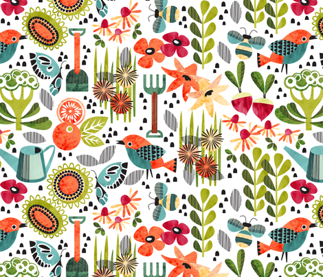 good morning garden fabric by cjldesigns on Spoonflower - custom fabric