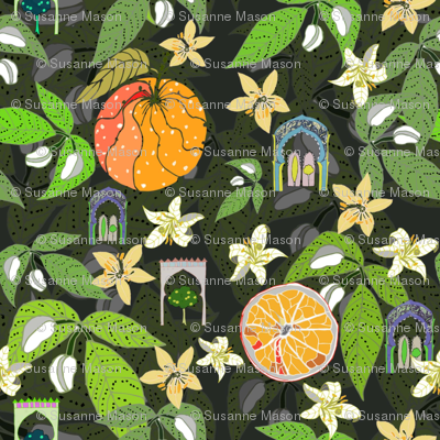 Spanish Garden, oranges and flowers, by Susanne Mason
