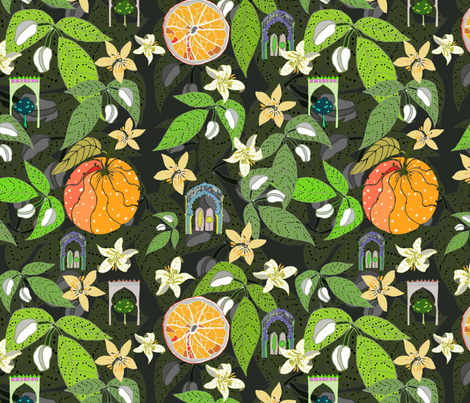 Spanish Garden, oranges and flowers, by Susanne Mason fabric by susanne_mason_ on Spoonflower - custom fabric