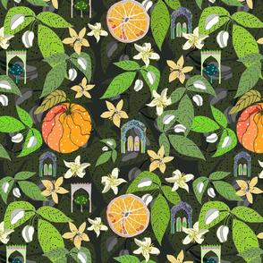 Spanish Garden, oranges and flowers, by Susanne Mason