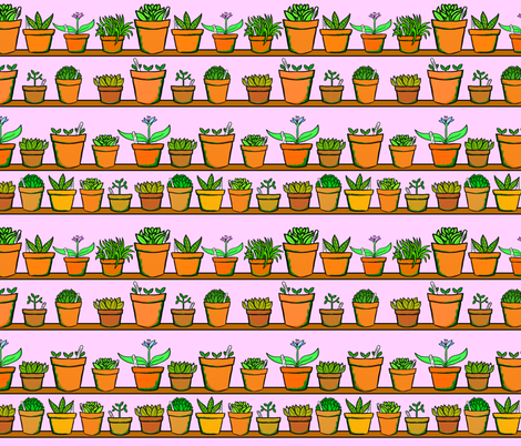 Green house Plant Pots - Pink fabric by antonybriggs on Spoonflower - custom fabric