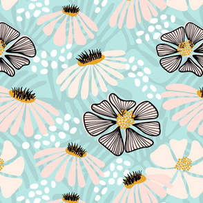 Bold  & bright flowers w/black and white
